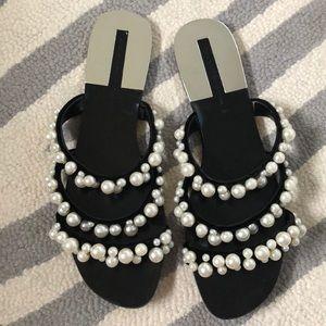Zara black pearl slides